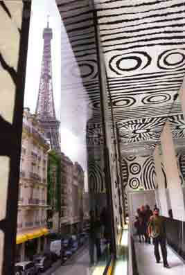Ningura Napurrula signature work (in black and white motif) is superimposed eternally on the ceiling of Mus�e du quai Branly to be appreciated by the future generations, similar to the famous Michelangelo's Sistine Chapel ceiling.