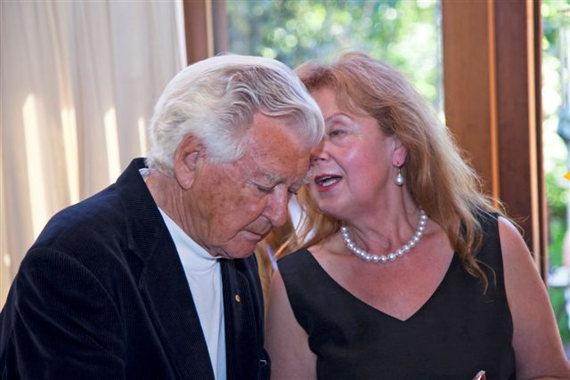 Hon.Bob Hawke, Former Prime Minister of Australia & Aniela at the Grand Opening 'A Century of Boyd' 24 March 2012