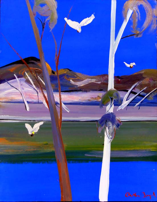Click to Enlarge: Arthur Boyd (1920-1999), Shoalhaven River with Three White Cockatoos, Oil on Board, 38 cm x 31 cm