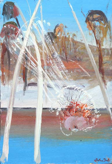 Click to Enlarge: Arthur Boyd (1920-1999), Bride with Necklace Drinking from the Shoalhaven River c.1970-75, Oil on Board, 30 cm x 20 cm