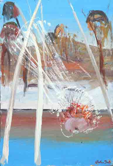 SOLD - Arthur Boyd, Bride Drinking from Shoalhaven River 1970-75, oil on board, 31 x 21 cm