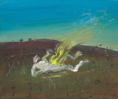 Click to Enlarge: Arthur Boyd (1920-1999) 'Nebuchadnezzar on Fire' circa 1968 (illustrated 1st Ed. 5/30 book), Oil on Canvas, Size: 21 cm x 25 cm