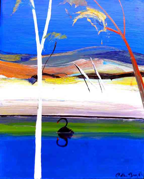 Click to Enlarge: Arthur Boyd (1920-1999), Shoalhaven River with Black Swan, Oil on board, 38 cm x 31 cm