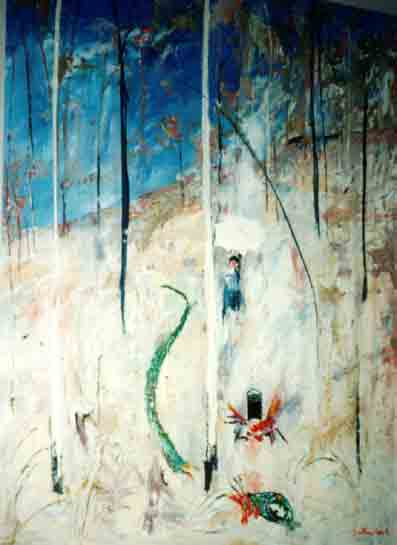 SOLD - Arthur Boyd, Lady and The Green Serpent, Oil on canvas, 122 x 92 cm