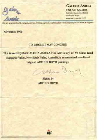 Click:  Arthur Boyd authorized Galeria Aniela to sell his original paintings, signed November 1995