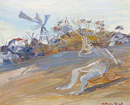 Click to Enlarge: Arthur-Boyd (1920-1999)  'Nebuchadnezzar by A Windmil'l, Oil on Composition Board, 21 cm x 25 cm