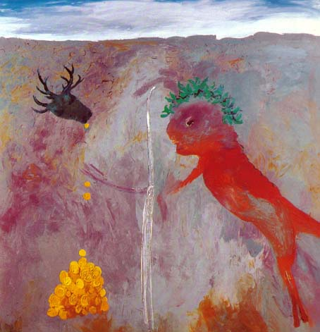 SOLD - Arthur Boyd,  Allegory and Myth - Magic Flute, Oil on canvas, 180 x 180 cm