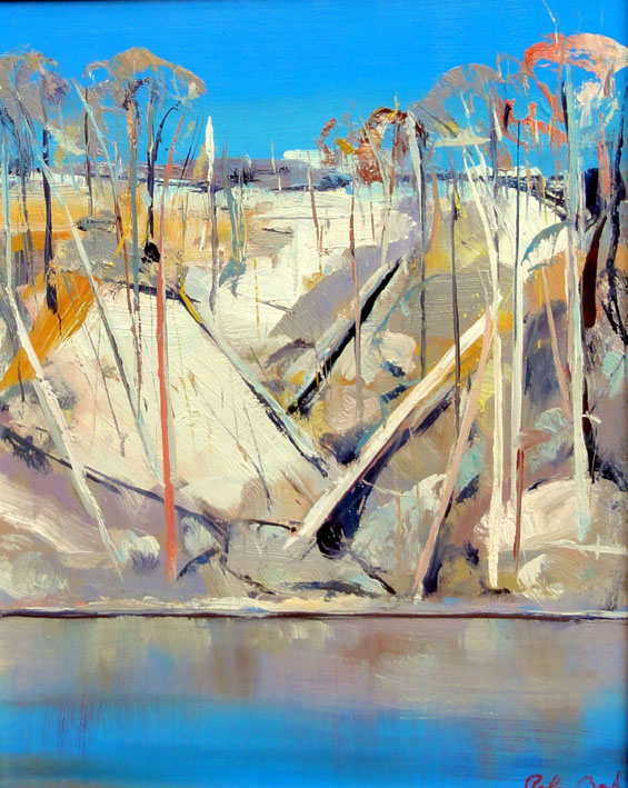 Click to Enlarge: Arthur Boyd (1920-1999), Shoalhaven River Escarpment c.1970-75, Oil on Board, 36 cm x 30 cm