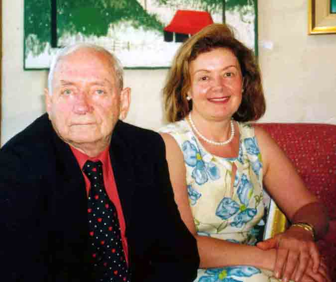 Photo: Charles Blackman (left), Aniela Kos (right) in Galeria Aniela, 2002 - CLICK Video: SBS TV National Australian TV 'Art-Scream' Charles Blackman Retrospective in Galeria Aniela