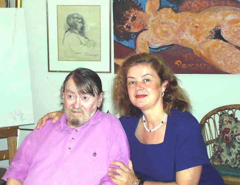 PHOTO: (left) John Perceval,  one of the leading Australian painters of the late 20th century, (right) Aniela Kos in Perceval Studio (1999)