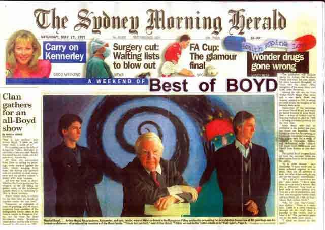 Click: Front page Sydney Morning Herald 'Best of Boyd Exhibition' in Galeria Aniela, 17 May 1997