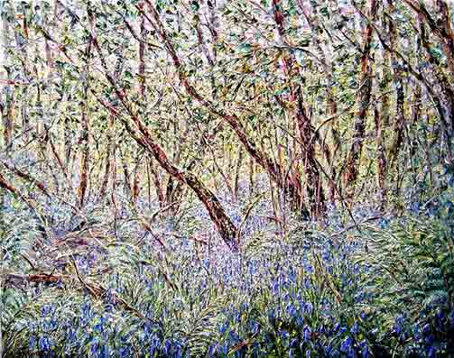 Tessa Perceval, Bluebells in Afternoon Light, Oil on Linen, 65 cm by 80 cm - SOLD