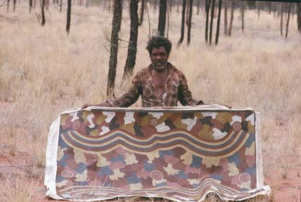 Click: National Archives of Australia, Don Tjungurrayi, Date 1989, ABORIGINAL PEOPLE AND TORRES STRAIT ISLANDER PEOPLES ART Image no. A6135, K3/11/89/16A, Barcode: 11689913, Location: Canberra, Series accession number: A6135/1